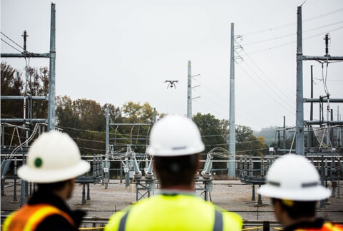Drone flying over site
